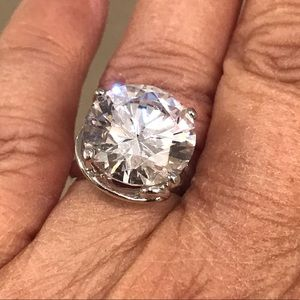 Jewelry - Huge Lab Created Diamond Solitaire SS setting